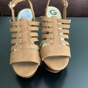 GUESS chunky gladiator strappy block heels